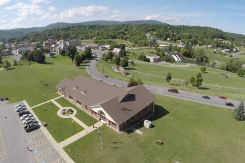 An aerial view of North Country Community College's Ticonderoga campus