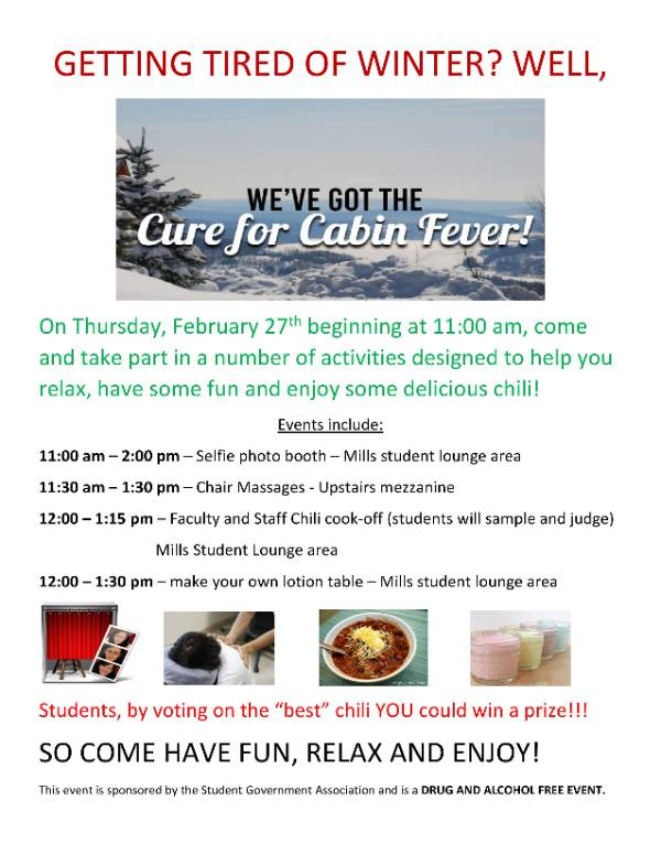 Cabin Fever Cure Events at NCCC Malone