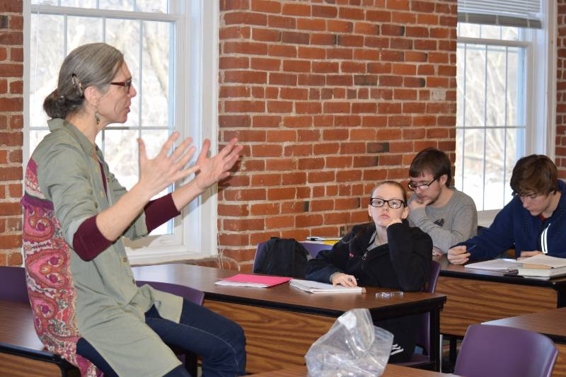 Shir Filler leads an English class at NCCC Malone