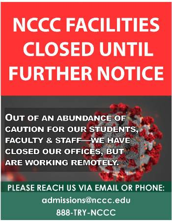 A flyer from the college announcing its facilities are closed.