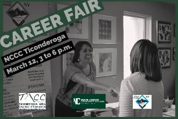 Participants at a Career Fair at NCCC Ticonderoga meet with an employer.