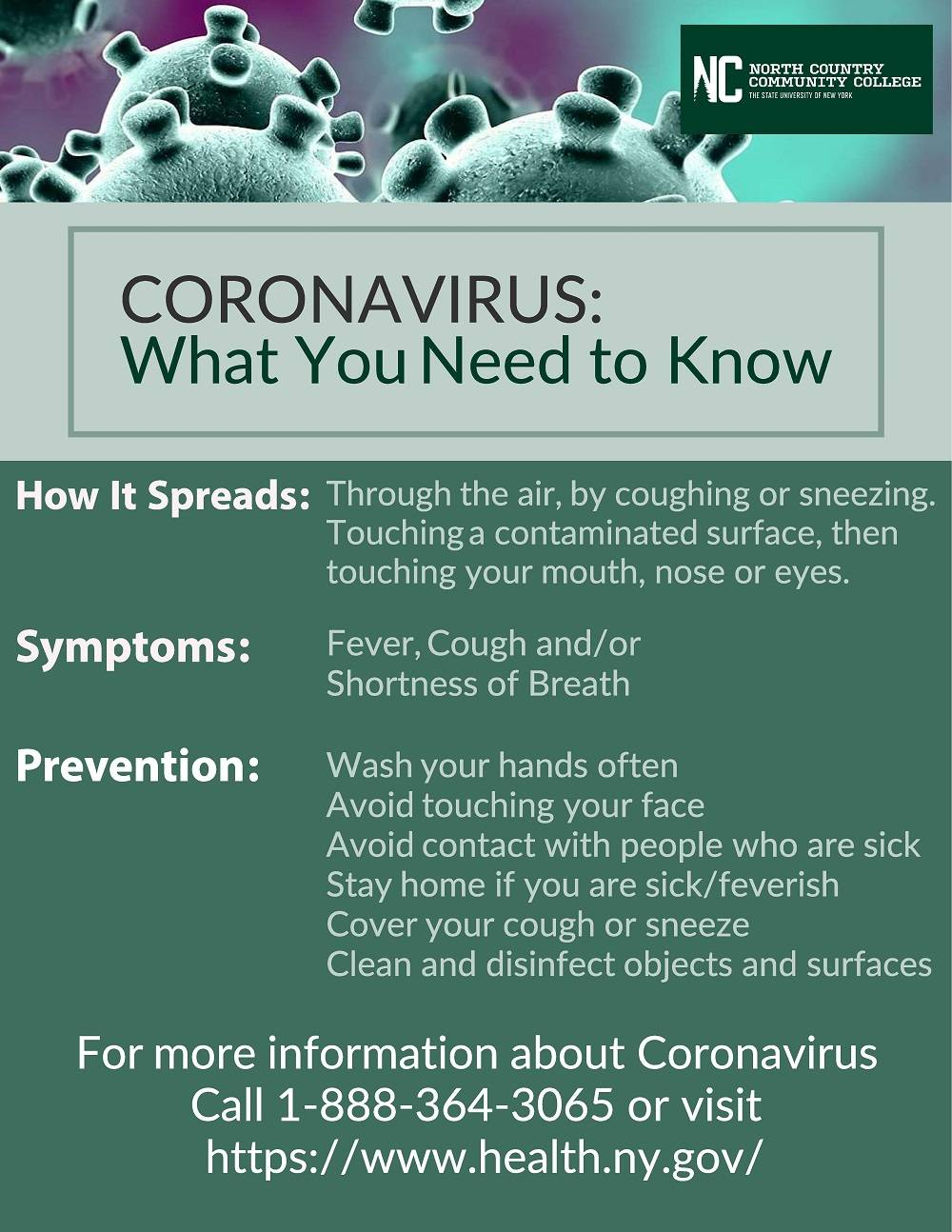 A flyer that describes steps to help prevent the spread of coronavirus.