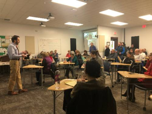 North Country Community College President Joe Keegan outlines the college's plans for the COVID-19 crisis to faculty and staff at a meeting March 12 at the college's Saranac Lake campus.