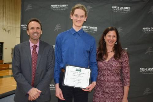 NCCC student Schuyler Cranker accepts an award.