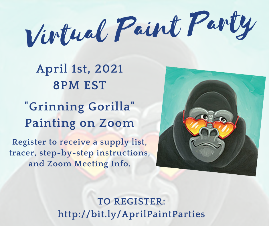 Virtual Paint Party: Grinning Gorilla