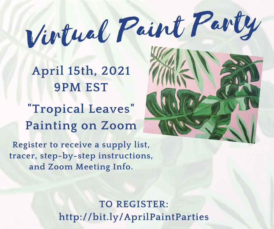 Virtual Paint Party: Tropical Leaves