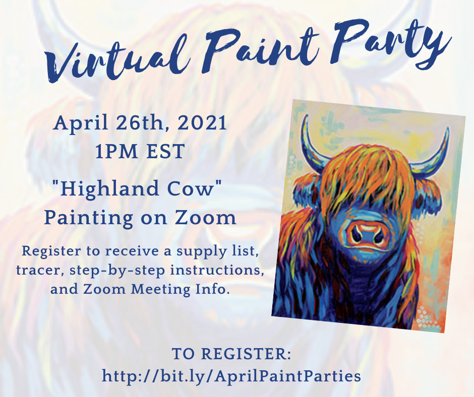 Virtual Paint Party: Highland Cow
