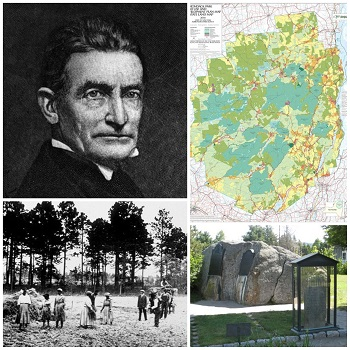 A photo collage showing John Brown, John Brown's grave in North Elba, the settlement of Timbuctoo and an Adirondack map